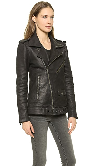 BLK DNM Leather Jacket 8 with Detachable Fur Collar