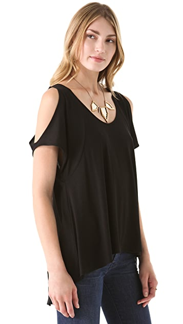 Blue Life V Neck Open Shoulder Top