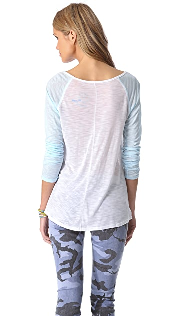 Blue Life V Neck Baseball Tee