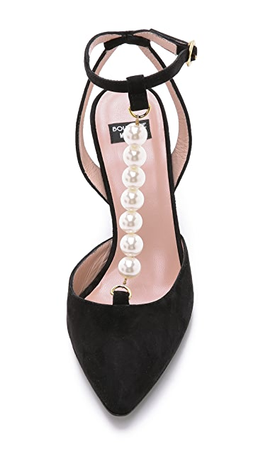 Boutique Moschino Imitation Pearl Suede Pumps