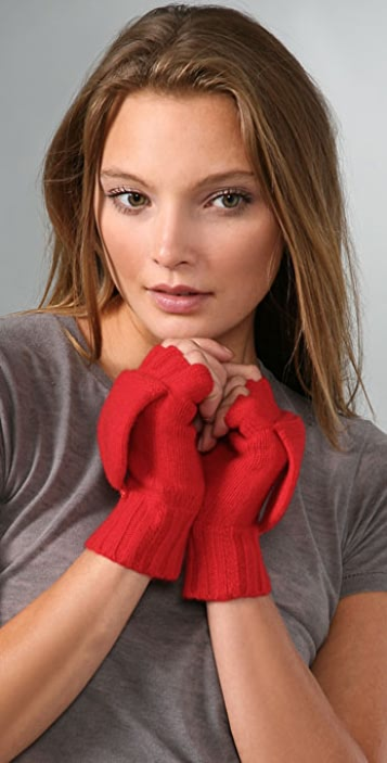 Bop Basics Cashmere Fingerless Gloves with Mitten Cover