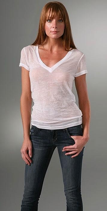 Bop Basics Short Sleeve V Neck Burnout T-Shirt