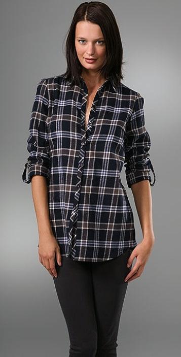 Bop Basics Plaid Back Button Boyfriend Shirt