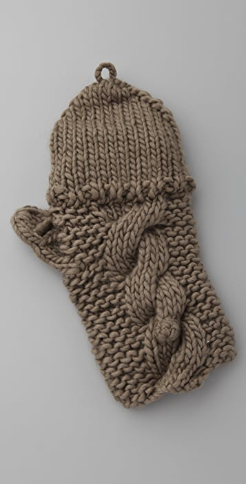 Bop Basics Thick Knit Pop Top Fingerless Gloves