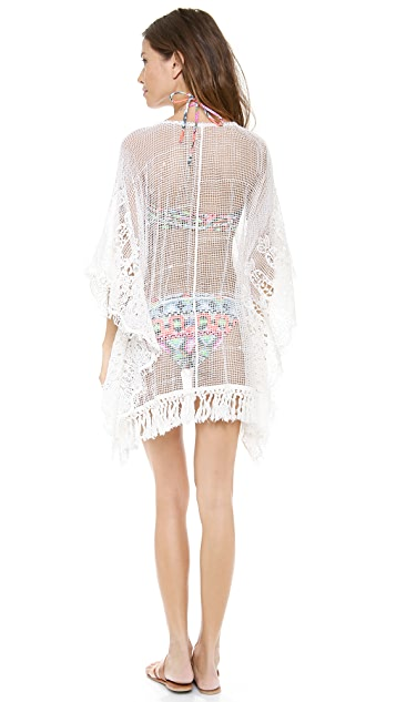 Bop Basics Fringed Lace Cover Up