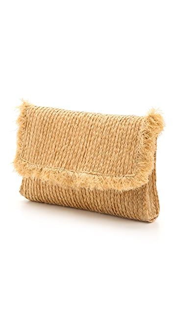 Bop Basics Raffia Braid Clutch with Fringe