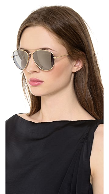 Bottega Veneta Mirrored Aviator Sunglasses