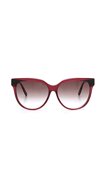 Bottega Veneta Special Fit Leather Accent Sunglasses