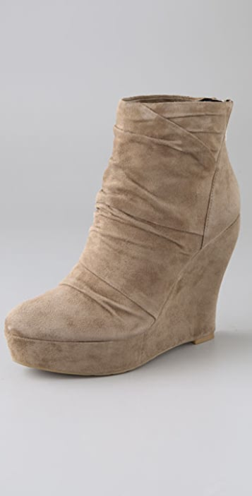 Boutique 9 Wafer Shirred Suede Wedge Zip Back Bootie