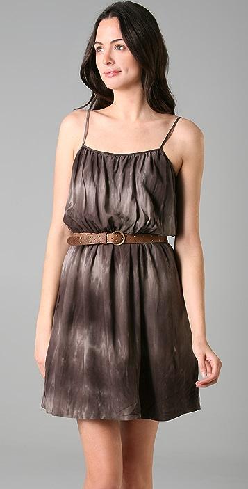 Brochu Walker Gathered Waist Print Dress with Studded Belt