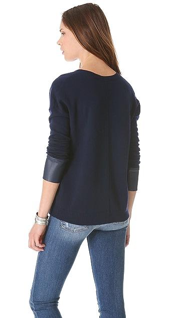 Brochu Walker Leather Cuff V Sweater