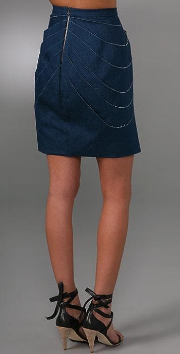 Brian Reyes Draped Denim Skirt