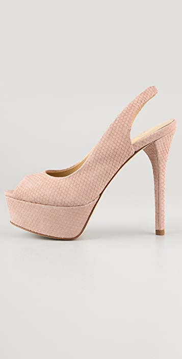 B Brian Atwood Beatris Textured Suede Pumps