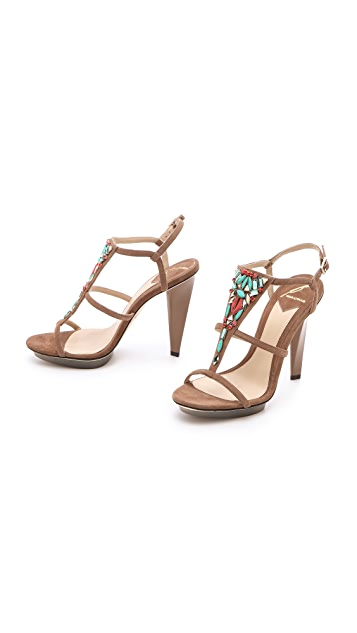 B Brian Atwood Donosa Jeweled Sandals