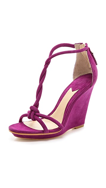 B Brian Atwood Priscilla Twist Strap Wedge Sandals