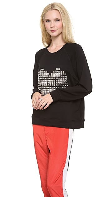 By Chance Melissa Heart Stud Sweatshirt