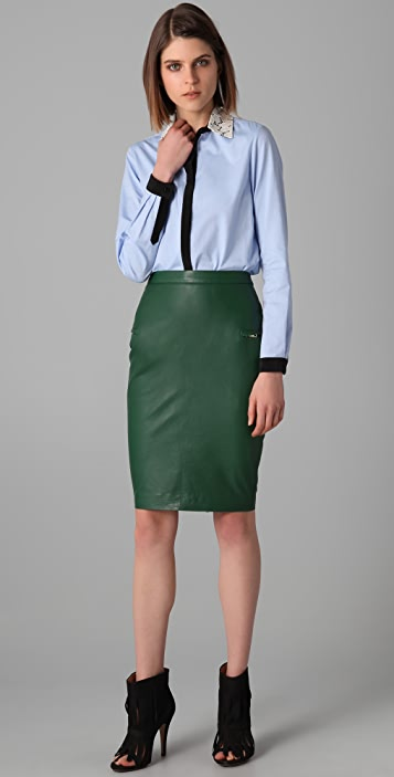 By Malene Birger Aminus Leather Pencil Skirt