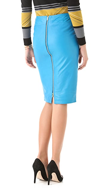 By Malene Birger Annagria Leather Zip Pencil Skirt