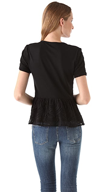 By Zoe Tamara Lace Peplum Top