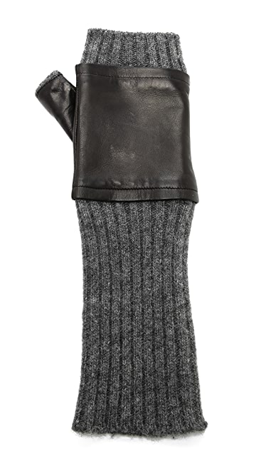 Carolina Amato Fingerless Knit & Leather Gloves