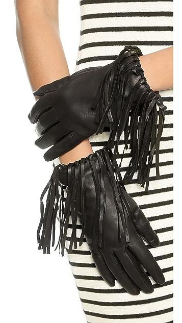 Carolina Amato Fringe Leather Gloves