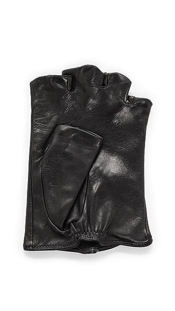 Carolina Amato Zipper Fingerless Moto Gloves