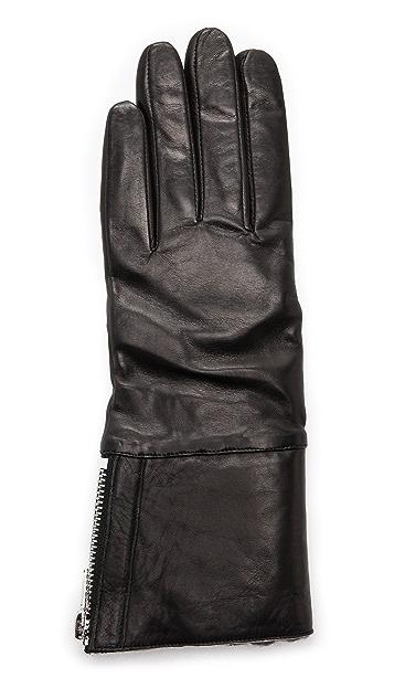 Carolina Amato Shearling Cuff Leather Gloves
