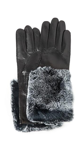 Carolina Amato Fur Cuff Leather Gloves