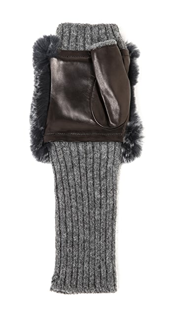 Carolina Amato Fingerless Fur Gloves