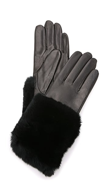 Carolina Amato Fur Cuff Leather Gloves
