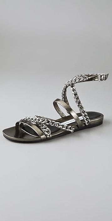 5a124c6a4a88c Chain Cross Strap Flat Sandals