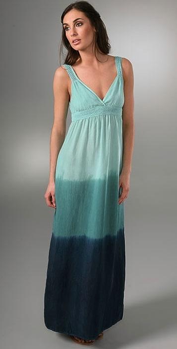 C&C California Crochet Trim Tie Dye Long Dress