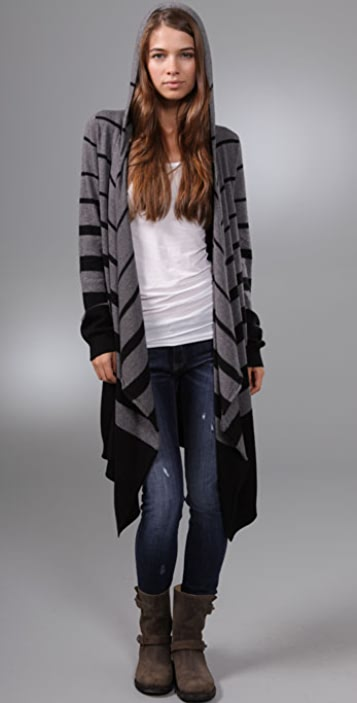C&C California Striped Draped Cardigan