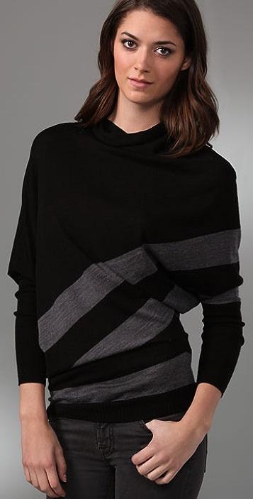 C&C California Striped Drape Cowl Sweater