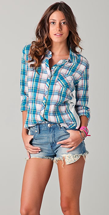 C&C California Joshua Plaid & Rib Roll Sleeve Shirt