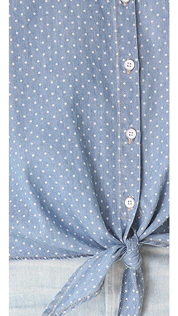 C&C California Roll Sleeve Tie Front Shirt