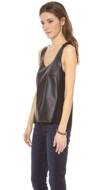 C&C California Faux Leather Tank