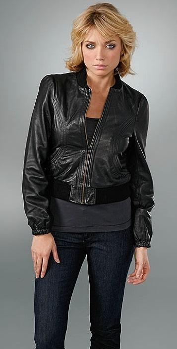 Candela Leather Bomber Jacket