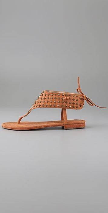 Candela Stud Tie Back Flat Thong Sandals