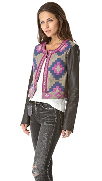 Candela Dakota Leather Sleeve Jacket