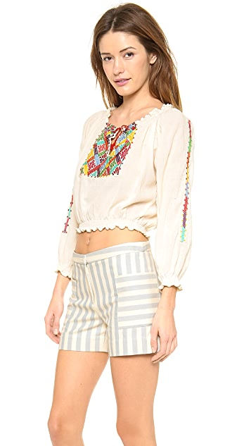 Carolina K Rumanian Embroidered Blouse