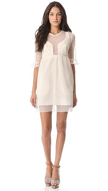 Carven Short Sleeve Empire Waist Shaped Dress