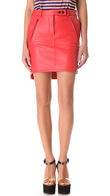 Carven Slash Pocket Leather Skirt