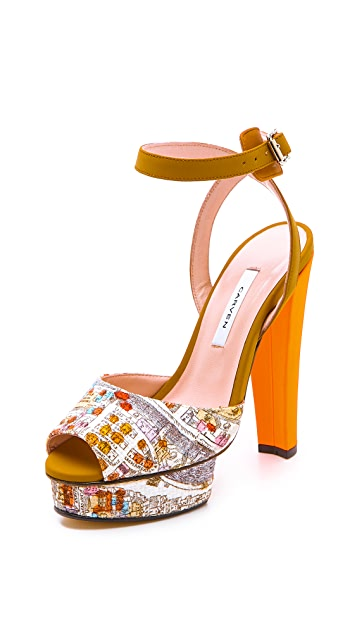 Carven Paris Print Platform Sandals