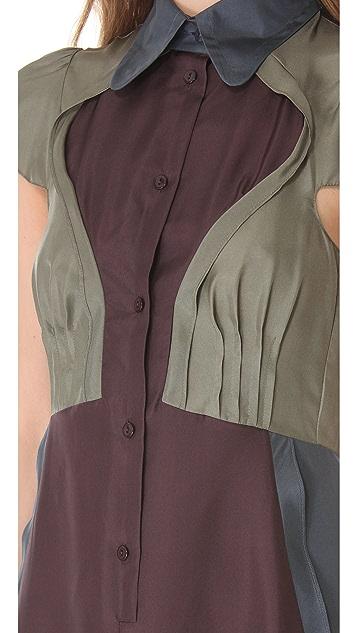 Carven Colorblock Short Sleeve Dress