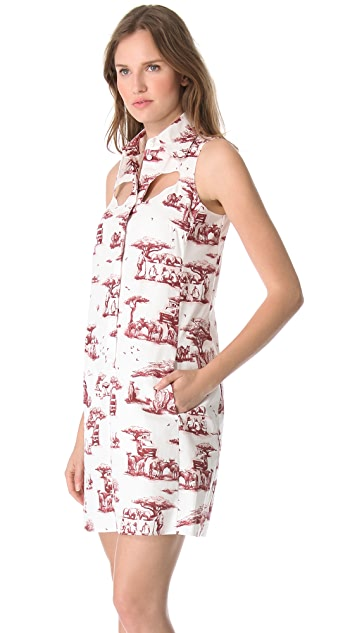 Carven Cutout Safari Toile Dress