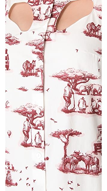 Carven Cutout Safari Toile Dress