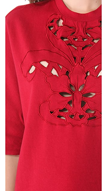 Carven Short Sleeve Embroidered Top