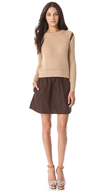 Carven Bicolor Cutout Sweater