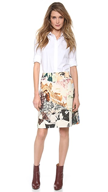 Carven Print Wool Canvas Skirt